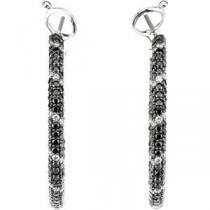 Diamond Hoop Earrings in 14k White Gold (2 Ct. tw.) (2 Ct. tw.)