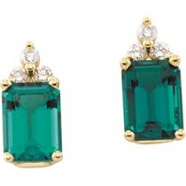 Emerald Diamond Earrings in 14k Yellow Gold (0.125 Ct. tw.) (0.125 Ct. tw.)