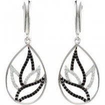 Black Spinel Diamond Earrings in Sterling Silver (0.25 Ct. tw.) (0.25 Ct. tw.)