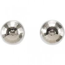 Diamond Cut Ball Earrings in 14k White Gold