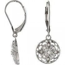 Diamond Leverback Earrings in Sterling Silver (0.1 Ct. tw.) (0.1 Ct. tw.)