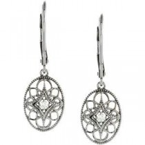 Diamond Leverback Earrings in Sterling Silver (0.06 Ct. tw.) (0.06 Ct. tw.)
