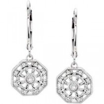 Diamond Leverback Earrings in Sterling Silver (0.07 Ct. tw.) (0.07 Ct. tw.)
