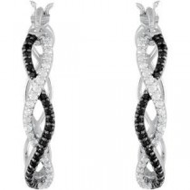 Black Spinel Diamond Hoop Earrings in Sterling Silver (0.2 Ct. tw.) (0.2 Ct. tw.)