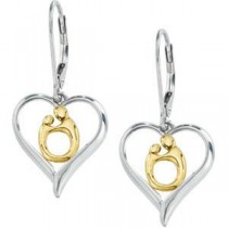 Heart Mother Child Earrings in 10k Yellow Gold & Sterling Silver