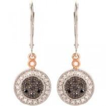 Black White Diamond Earrings in 14k Two-tone Gold (0.33 Ct. tw.) (0.33 Ct. tw.)