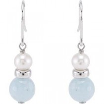 Pearl Aqua Earrings in Sterling Silver