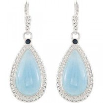 Aquamarine Sapphire Earrings in Sterling Silver