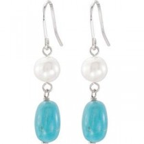 Pearl Turquoise Earrings in Sterling Silver