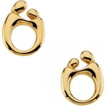 Mother Child Post Earring in 14k Yellow Gold