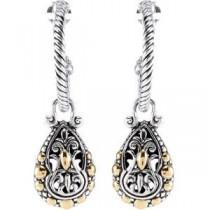 Pear Shape Hoop Earrings in 18k Yellow Gold & Sterling Silver