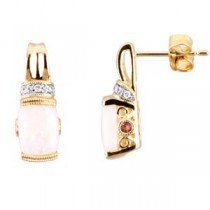Diamond Multi Gem Earrings in 14k Yellow Gold (0.05 Ct. tw.)