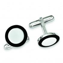 Black Enamel Round Cuff Links in Sterling Silver
