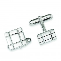 Grooved Design Cuff Links in Sterling Silver