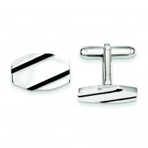 Black Enamel Cuff Links in Sterling Silver