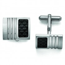 Carbon Fiber Cuff Links in Stainless Steel