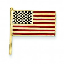 Enameled Flag Tie Tac in 14k Yellow Gold