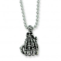 Skull Hand Pendant Necklace in Stainless Steel