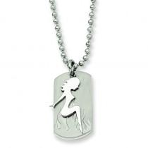 Girl Dog Tag Pendant Necklace in Stainless Steel