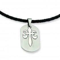 Fleur De Lis Pendant Necklace in Stainless Steel