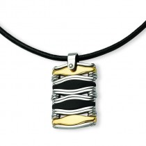 Wavy Bar Rectangle Pendant Necklace in Stainless Steel