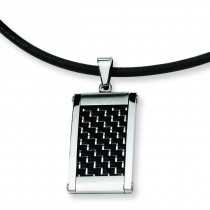 Silver Black Pendant in Stainless Steel