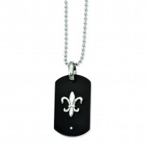 Fleur de Lis Dog Tag Necklace in Titanium