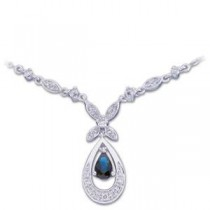 Blue Sapphire Diamond Necklace in 14k White Gold (0.25 Ct. tw.) (0.25 Ct. tw.)