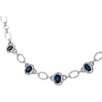 Diamond Sapphire Necklace in 14k White Gold (0.75 Ct. tw.) (0.75 Ct. tw.)