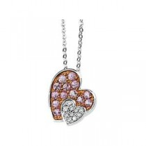 Pink Sapphire Diamond Necklace in 14k White Gold (0.05 Ct. tw.) (0.05 Ct. tw.)