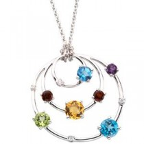 Citrine Amethyst Topaz Peridot Mozambique Garnet Diamond Necklace in 14k White Gold (0.05 Ct. tw.)