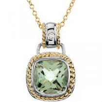 Green Quartz Diamond Necklace in 14k Two-tone Gold (0.04 Ct. tw.) (0.04 Ct. tw.)