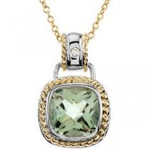 Green Quartz Diamond Necklace in 14k Two-tone Gold (0.04 Ct. tw.) (0.04 Ct. tw.)