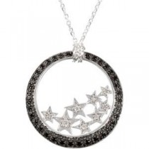 Black Spinel Diamond Necklace in Sterling Silver (0.06 Ct. tw.) (0.06 Ct. tw.)