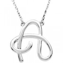 Fashion Script Initial Necklace
