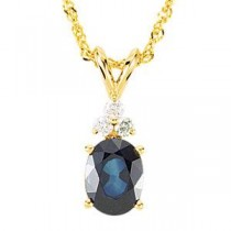 Genuine Sapphire  Diamond Pendant on Sparkling Singapore Chain