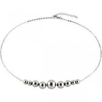 Stainless Steel Necklace with Round Beads in Stainless Steel