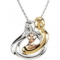 Tri-Color Embraced by the Hearttrade (Family) Necklace