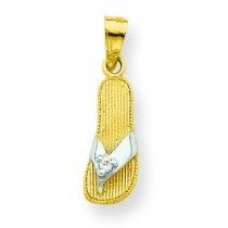 CZ Flip Flop Charm in 10k Yellow Gold