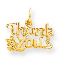 Flowered Thank You Charm in 10k Yellow Gold