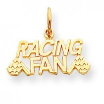 Talking Racing Fan Charm in 10k Yellow Gold