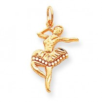Diamond Cut Ballerina Charm in 10k Yellow Gold