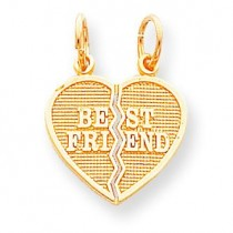 Piece Break Apart Best Friend Heart Charm in 10k Yellow Gold