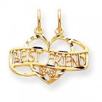 Best Friend Break Apart Charm in 10k Yellow Gold