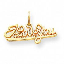 I Love You Charm in 10k Yellow Gold