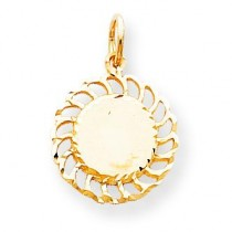 Circle Filigree Edges Charm in 10k Yellow Gold