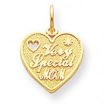 Very Special Mom Heart Charm in 10k Yellow Gold