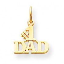 Number One Dad Charm in 10k Yellow Gold