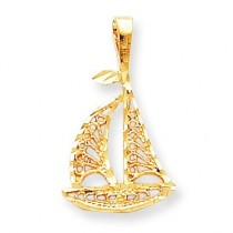 Sailboat Charm in 10k Yellow Gold