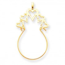 Hearts Charm Holder in 10k Yellow Gold